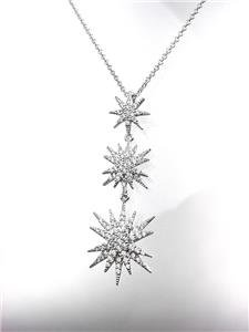 CHIC 18kt White Gold Plated CZ Crystals STARBURST Pendant Petite Dainty Necklace