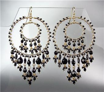 STUNNING Black Onyx Crystal Beads Gold Chandelier Dangle Peruvian Earrings 38BK