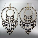 STUNNING Black Onyx Crystal Beads Gold Chandelier Dangle Peruvian Earrings 38BK