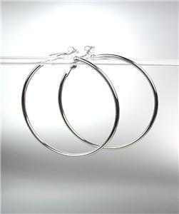 "CLASSIC Lightweight SILVER Metal Round 2"" Diameter CLIP ON Hoop Earrings"