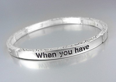 Inspirational WHEN I CARRIED YOU FOOTPRINTS Silver Stretch Stackable Bracelet