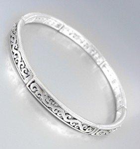 Designer Style Thin Silver Filigree Links Stretch Stackable Bracelet