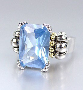 CLASSIC Silver Emerald-cut Light Blue Topaz CZ Crystal Glacier Ring