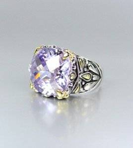 *NEW* Designer Inspired Lavender Amethyst CZ Crystal Silver Gold Balinese Ring