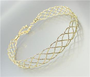 SHIMMERY CHIC Gold Metal Lattice Weave Braided Choker Necklace