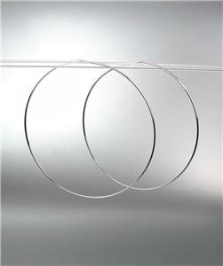 """CHIC Lightweight Thin Silver Continuous INFINITY 1 1/2"""" Diameter Hoop Earrings"""