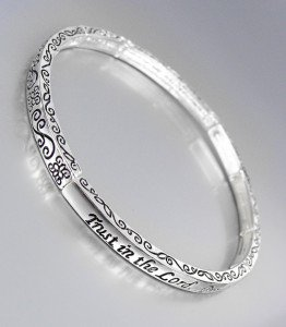 Inspirational PROVERBS 3:5 TRUST IN THE LORD Thin Silver 4mm Stackable Bracelet