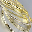 CHIC 7 PC Etched Gold Metal CZ Crystals Plus Size Wide Bangle Bracelets