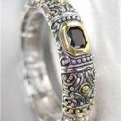 GORGEOUS Designer BALINESE Silver Gold Black Onyx Aqua Blue CZ Crystals Bracelet