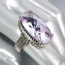 Designer Style Sterling Silver Marcasite Lavender Topaz CZ Crystal Size 7 Ring