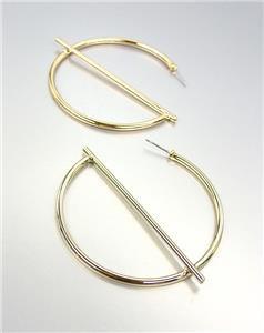 """UNIQUE & MODERN Urban Anthropologie Gold Metal Geometric 2"""" Hoop Earrings"""