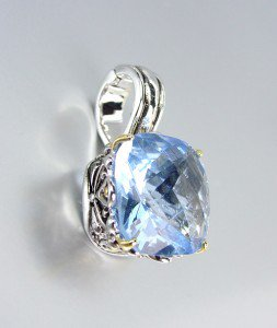 Designer Style Silver Gold Balinese Filigree Blue Topaz CZ Crystal Pendant