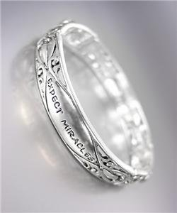 INSPIRATIONAL Brighton Bay Silver Filigree Crystals EXPECT MIRACLES Bracelet