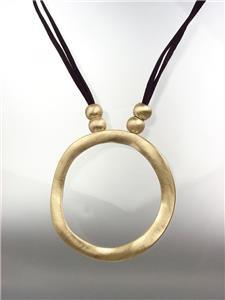 MODERN SCULPTED Artisanal Burnished Gold Metal Ring Black Cords Long Necklace