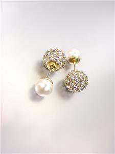 Urban Anthropologie Gold CZ Crystals Pearl Peek A Boo Double Sided Stud Earrings