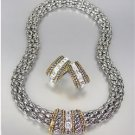 CLASSIC Designer Style Silver Cable Gold CZ Crystals Barrel Mesh Necklace Set
