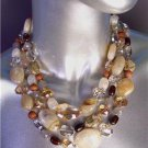Urban Anthropologie Wood Smoky Brown Czech Crystals Marble Beads Necklace Set