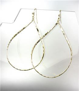 CHIC Lightweight Urban Anthropologie Gold Texture Oval Metal Dangle Earrings