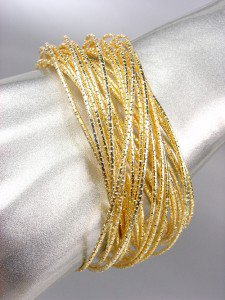 STYLISH 30 PC Thin Gold Metal DIAMOND-CUT Bangle Bracelets