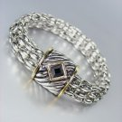 Designer Style Silver Cable Gold Black Onyx Crystal Magnetic Mesh Chain Bracelet