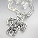 CLASSIC Brighton Bay Silver Filigree Cross Cable Chains Necklace Earrings Set