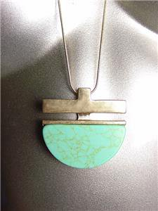 "STYLISH Turquoise Stone Brass Pendant 30"" Long Gold Snake Chain Necklace"