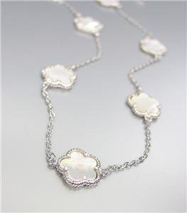 """CHIC 18kt White Gold Plated 13pc Mother Pearl Shell CLOVER CLOVERS 32"""" Necklace"""