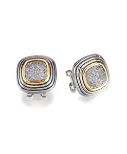 GORGEOUS Balinese Silver Gold Pave CZ Crystals Square Omega Latch Earrings
