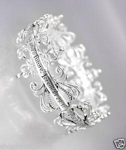 INSPIRATIONAL Silver Filigree Links JEREMIAH 29:11 Stretch Bracelet