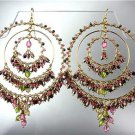 STUNNING Pink Multicolor Crystal Beads Gold Chandelier Peruvian Earrings B40-M