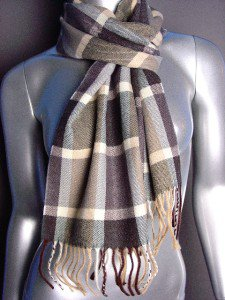 CLASSIC Brown Beige Plaid CASHMERE TOUCH 100% Acrylic Scarf