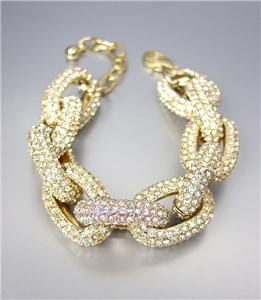 STUNNING Chunky Designer Style Gold CZ Crystals Encrusted Chain Links Bracelet