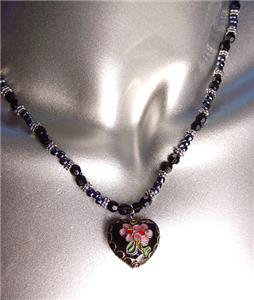 DECORATIVE Black Multi Cloisonne Enamel Floral Heart Pendant Necklace