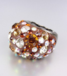 CHUNKY Sparkle Brown Crystals Oval Dome Stretch Cocktail Ring