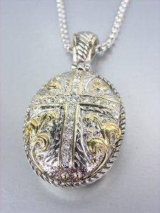 Designer Style Silver Gold Filigree CZ Crystals Cross Pendant Box Chain Necklace