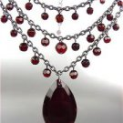 EXQUISITE Antique Victorian Red Garnet Crystals 3 Strands Choker Necklace Set