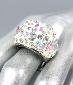 CHUNKY Sparkle Clear Iridescent Crystals White Oval Dome Stretch Cocktail Ring