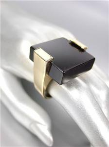 BOLD UNIQUE & CHUNKY Gold Square Black Onyx Lucite Cocktail STATEMENT Ring