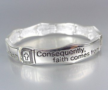 Inspirational Scripture ROMANS 10:17 Stretch Stackable Bracelet