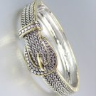 Designer Style Balinese Silver Wheat Gold Buckle Hinged Bangle Bracelet