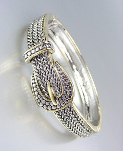 Designer Style Balinese Silver Wheat Gold Buckle Hinged Bangle Bracelet
