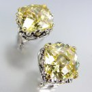 Designer Style Silver Gold Balinese Filigree Yellow Citrine CZ Crystal Earrings