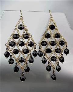EXQUISITE Black Onyx Gemstone Gold Chandelier Peruvian Earrings