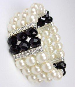 Elegant Boutique Creme Pearls Black Crystals Stretch Bracelet