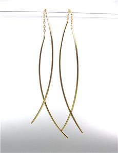 CHIC Urban Anthropologie Gold Plated Thin Metal Wire Chain Threader Earrings