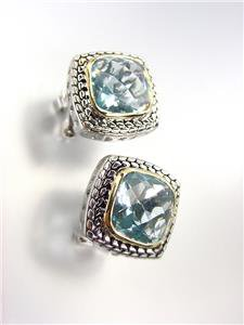 EXQUISITE Balinese Silver Wheat Cable Gold Blue Topaz CZ Crystal Square Earrings