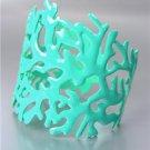 UNIQUE Turquoise Blue Lacquer Enamel Coral Motif Metal Cuff Bracelet