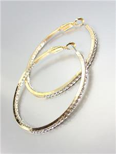 """GORGEOUS Gold Metal Inside Outside CZ Crystals 1 3/4"""" Round Hoop Earrings"""
