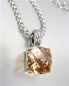 Designer Style Silver Gold BALINESE Champagne Brown CZ Crystal Pendant Necklace