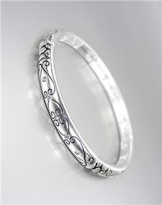 CLASSIC Brighton Bay Silver CZ Crystals Filigree Stretch Stackable Bracelet